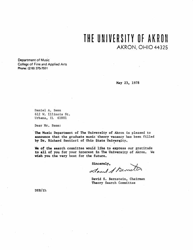 12 rejection letters from 1978 for Dan Senn – Rejection Letters